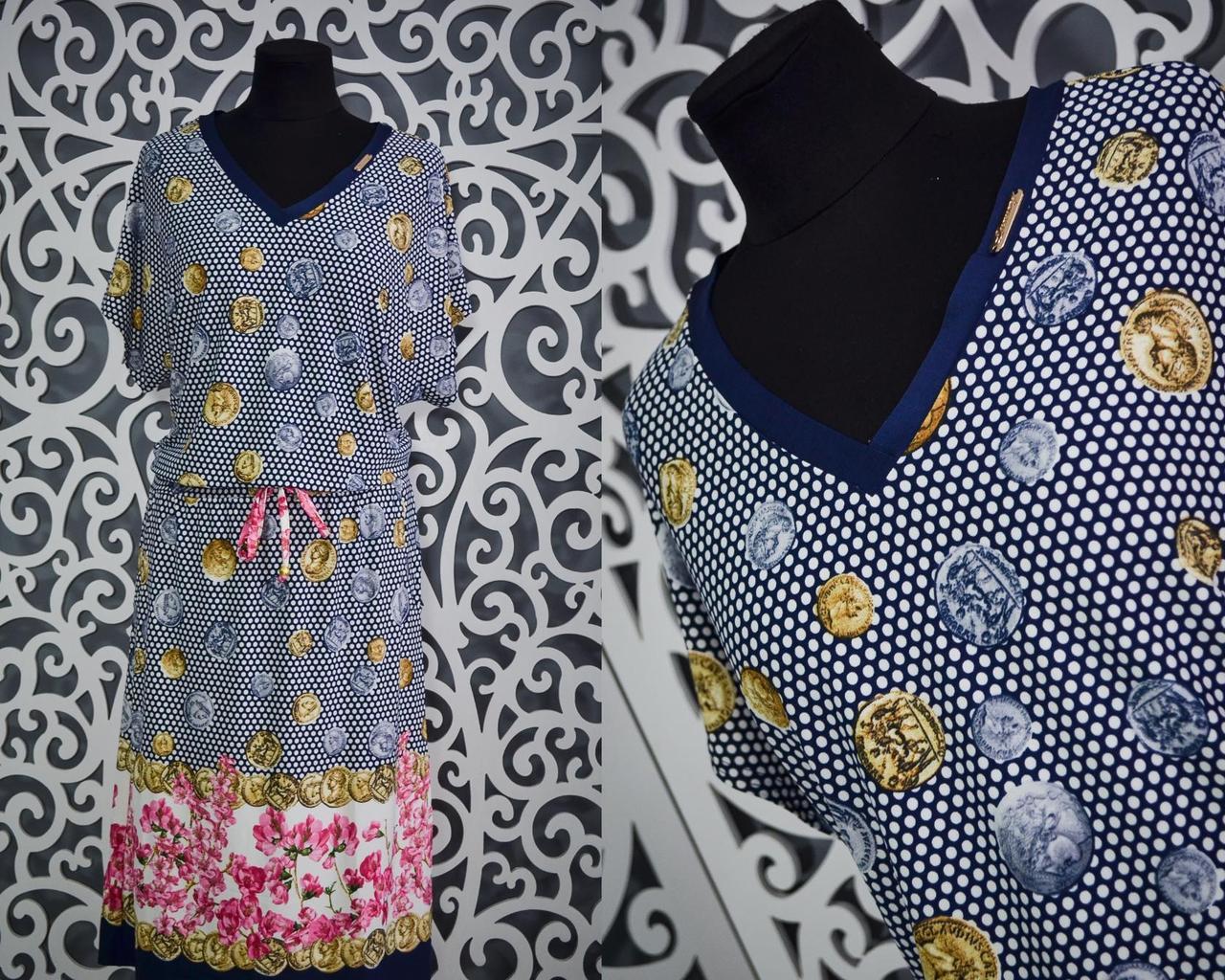 """Красивое женское платье с резиночкой на поясе """"Масло"""" 50, 54 размеры батал"""