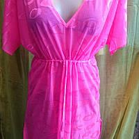 Пляжная накидка туника розового и оранжевого цвета