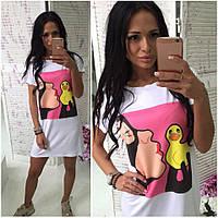 Женское стильное молодежное платье-футболка с принтами (варианты принтов)