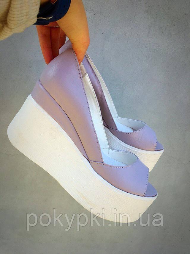 Женские летние туфли на танкетке с открытым носком. Модные туфли на  платформе f12fa40194729