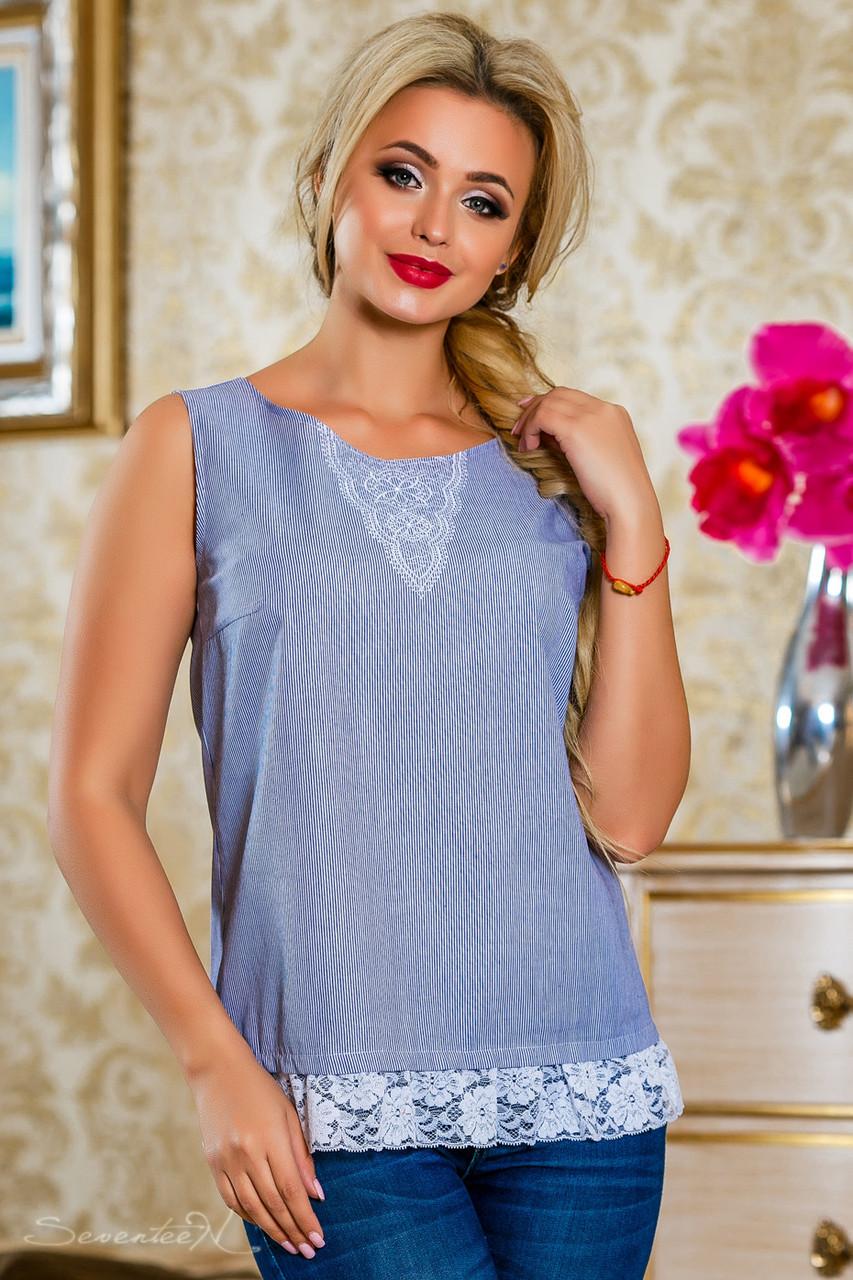 Блуза 2223 бело-голубая полоска