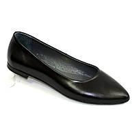 Женские кожаные туфли-балетки с заостренным носком, цвет черный.