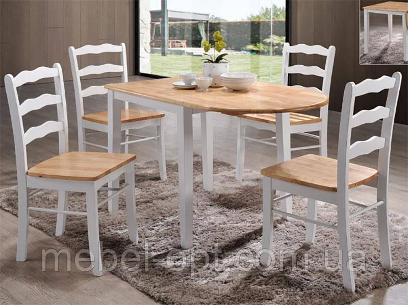 Кухонный стол обеденный раскладной Сканди на 4х ножках 750(+450)*750*750 (бук-белый)