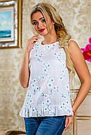 Летняя блузка из батиста с цветочным принтом, белая, размеры 42-48