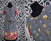 """Удобное женское платье с напуском на резиночке """"масло"""" 52 размер батальной серии"""