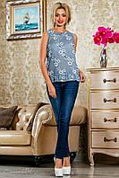 Летняя блузка из батиста с цветочным принтом, синяя, размеры 42-48