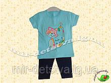 Костюм дитячий (футболка+шорти) для дівчинки оптом, Туреччина р. 6-9-12-18 міс, бірюза