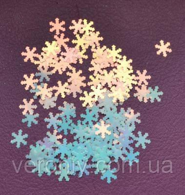 Снежинки для дизайна ногтей № 6 (светло-голубые, голографические, большие)