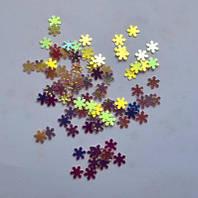 Снежинки для дизайна ногтей № 7 (персиковые с золотым отливом, маленькие)