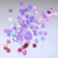 Снежинки для дизайна ногтей № 9 (сиреневые, голографические, большие)