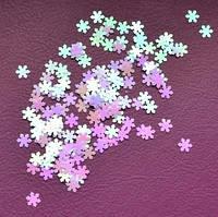 Снежинки для дизайна ногтей № 5 (светло-розовые, голографические, мелкие)