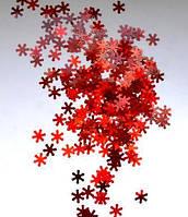 Снежинки для дизайна ногтей № 13 (красные, большие)