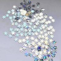 Снежинки для дизайна ногтей № 12 (серебро, маленькие)