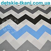 Ткань с макси-зигзагом черного, бирюзового и серого цвета, плотность 135 г/м2 (№ 774)