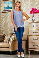 Нежно-голубая блуза в полоску 2223 Seventeen 42-48 размеры