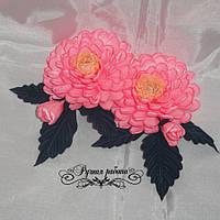 Хризантема розовая украшение для волос (основа на выбор), 2шт