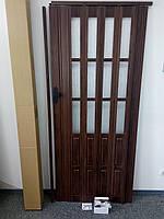 Двері гармошка полуостекленная 860х2030х12мм венге 801, доставка по Україні, фото 1