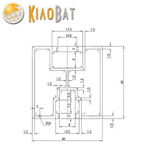 Рейка монтажний профіль панелей батарей 40х40 2057мм