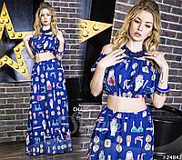 Женственный летний комплект топ и юбка макси