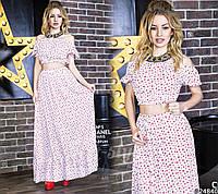 Женственный комплект с принтом топ и юбка макси