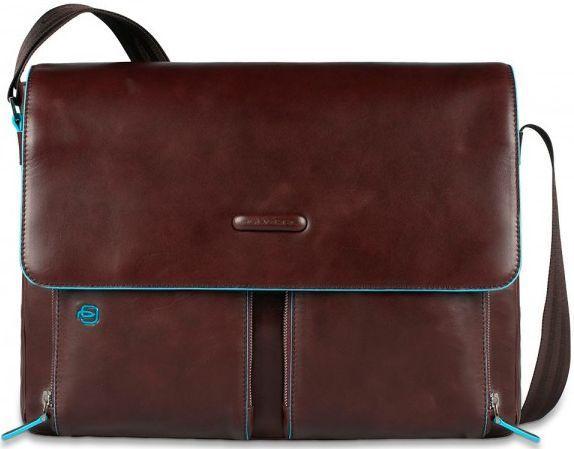 Мужская прочная кожаная сумка через плечо Piquadro Blue Square, CA3337B2_MO коричневый