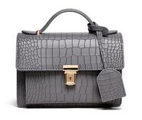 Женская Модная сумка шикарного Серого цвета под змеиную кожу