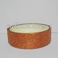 Скотч декоративный с глиттером, цвет бронза, 2,75 м