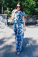 Женское платье на лето с 3D принтом цвет голубой размер 46-64 / больших размеров