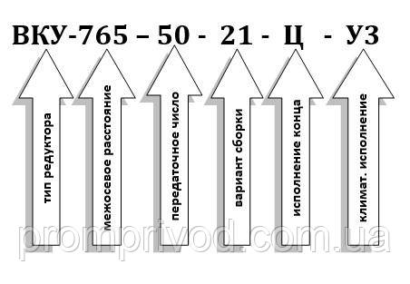 Пример условного обозначения редуктора ВКУ-765М-50