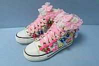 Подростковые кеды B.B.G 8505 высокие розовый гипюр код 0595А