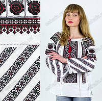 Женская вышитая сорочка в красно-черных тонах