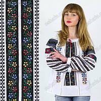 Женская вышиванка на домотканом  полотне с черной вышивкой