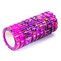 Ролик для йоги, пилатеса и фитнеса SC-EVA (мультиколор фиолетовый)