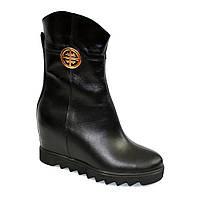 Стильные кожаные зимние ботинки женские на платформе