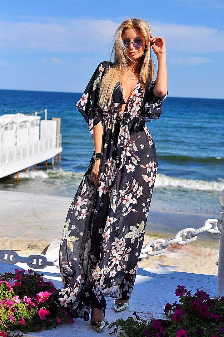 7d463c68ba9d1 Эксклюзивная пляжная шифоновая длинная туника макси под купальник с  принтом, цена 330 грн., купить в Одессе — Prom.ua (ID#561045375)