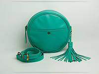 Кожаная женская сумка зеленого цвета