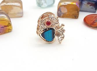 Заколка-краб Ажурное яблочко с разноцветными камнями, золотистая