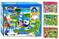 "Детский Паркинг ""Робокар Поли"" 2 машинки в коробке , длина гаража  50см., ширина 50 см."