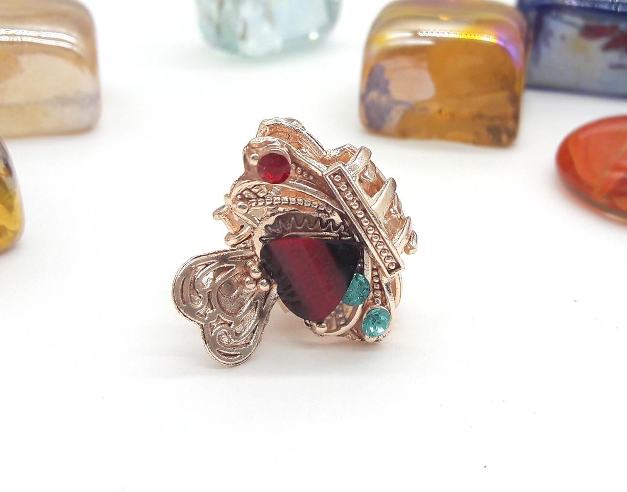 Заколка-краб золотистая, Ажурная корона с разноцветными камнями