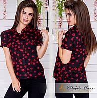 Стильная женская рубашка с коротким рукавом
