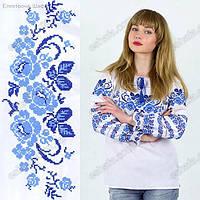 :енская вышиванка с голубыми цветами