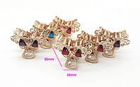 Заколка-краб золотистая, Две бабочки с разноцветными камнями