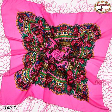 Яскраво-рожева хустка українська народна Квітучий сад, фото 2