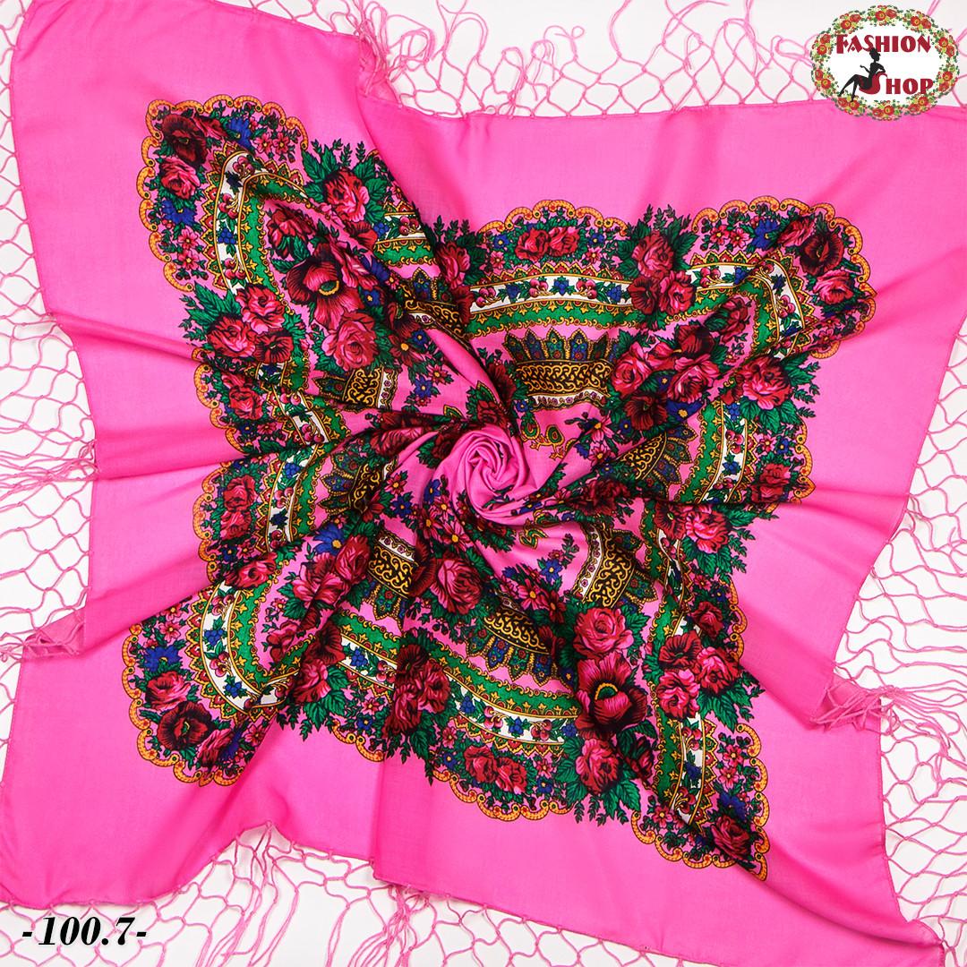 Яскраво-рожева хустка українська народна Квітучий сад