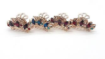 Заколка-краб Золотистая корона с разноцветными камнями