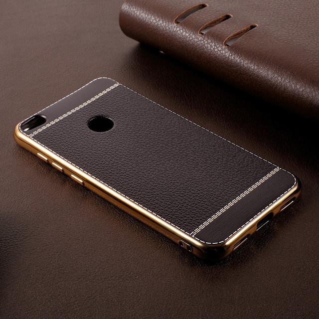 чехол накладка на Huawei P8 Lite 2017 с кожаной вставкой черный