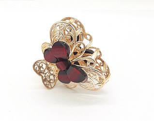 Заколка-краб Ажурная бабочка с разноцветными камнями, золотистая