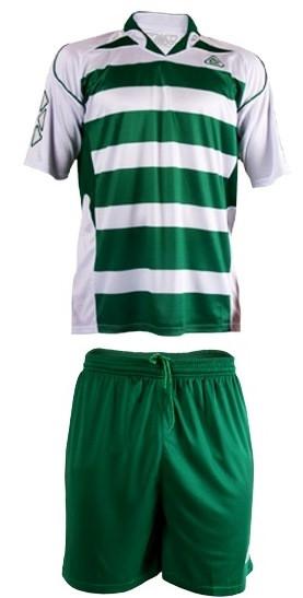 Форма футбольная Liga Sport бело-зеленая полосатая