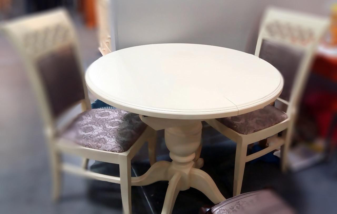 Стол круглый Анжелика (Гермес) бежевый Ø 90(+38)х78 раскладной