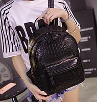 Рюкзак женский кожзам Shelley змеиный принт черный, фото 1